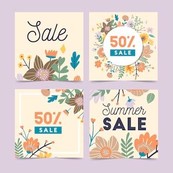 Conjunto de modelos abstratos de banner da web com flores