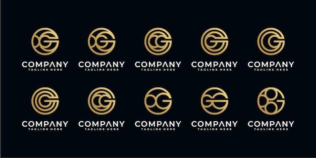 Conjunto de modelos abstratos de logotipo com letra g inicial