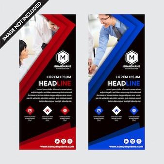 Conjunto de modelos banners de roll-up de fundo preto com elementos vermelhos e azuis