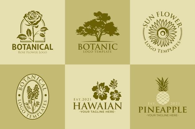 Conjunto de modelos botânicos de logotipo vintage