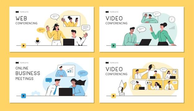 Conjunto de modelos com executivos falando em videocomunicações ao vivo videoconferência