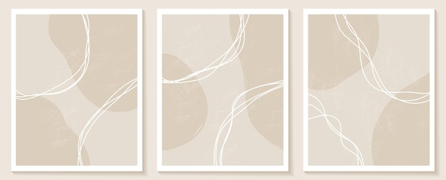 Conjunto de modelos com formas abstratas e linhas em cores nude fundo pastel em estilo minimalista