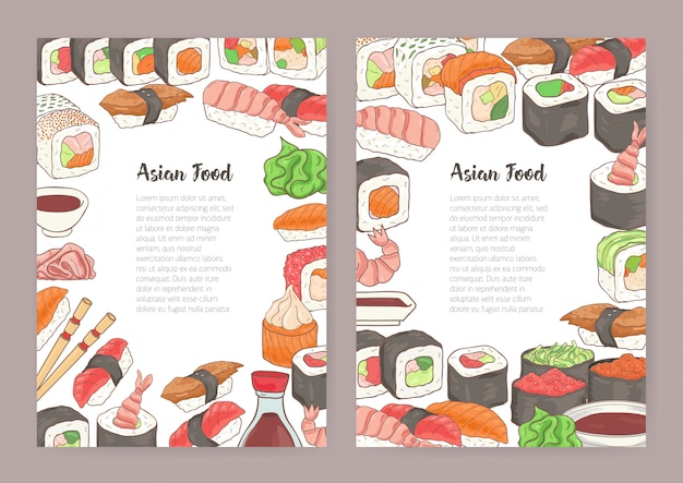 Conjunto de modelos com lugar para texto no centro e quadro colorido consistia em diferentes tipos de sushi, rolos, molho de soja. ilustração para menu, panfleto, anúncio de restaurante japonês.