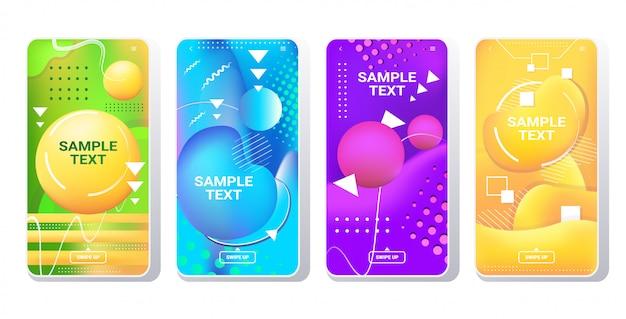 Conjunto de modelos da web dinâmico colorido gradiente abstrato banners fluindo líquido forma fluido cor smartphone telas coleção on-line aplicativo móvel estilo memphis horizontal