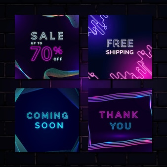 Conjunto de modelos de anúncio de venda de néon