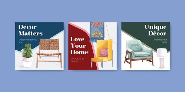 Conjunto de modelos de anúncios com móveis de luxo em estilo aquarela