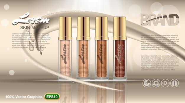 Conjunto de modelos de anúncios de toner de pele, em quatro recipientes de cores diferentes