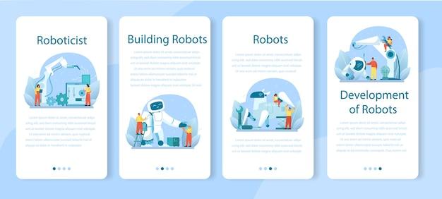 Conjunto de modelos de aplicativo móvel roboticista.
