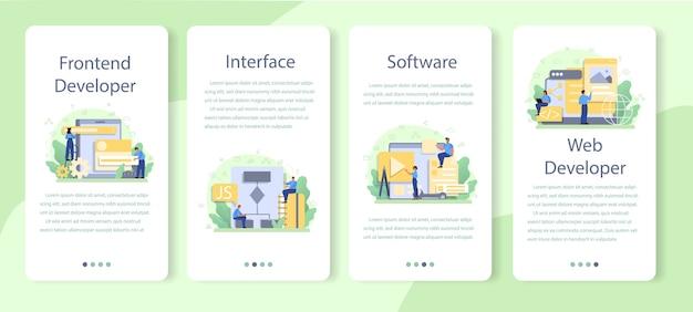 Conjunto de modelos de aplicativos móveis de desenvolvedor front-end.