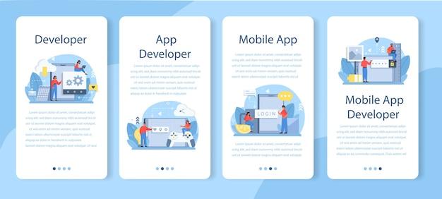 Conjunto de modelos de aplicativos móveis de desenvolvimento de aplicativos móveis.
