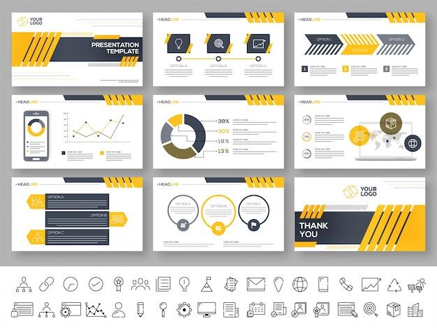 Conjunto de modelos de apresentação com elementos infográficos.