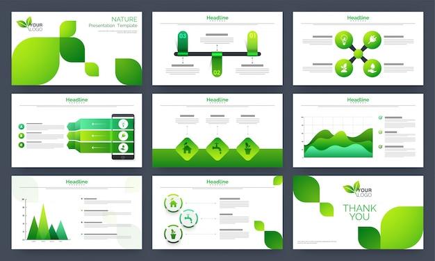 Conjunto de modelos de apresentação de natureza.