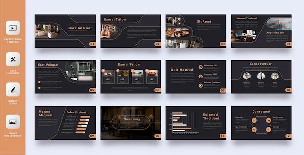 Conjunto de modelos de apresentação de negócios com interior escuro e elegante