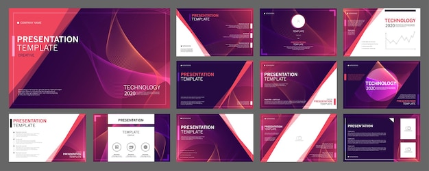Conjunto de modelos de apresentação de negócios para uso em folheto de apresentação e folheto de relatório corporativo