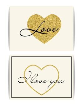 Conjunto de modelos de banner com símbolo de amor.