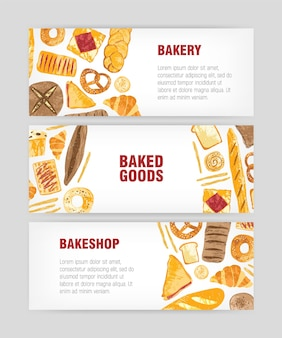 Conjunto de modelos de banner da web com pão delicioso, pastelaria ou produtos assados e lugar para texto