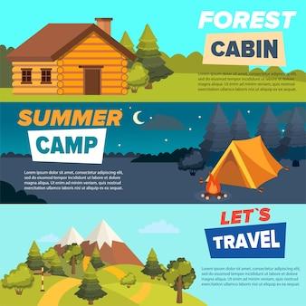 Conjunto de modelos de banner da web de acampamento de vetor plana.