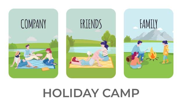 Conjunto de modelos de banner de acampamento de férias