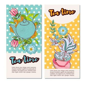 Conjunto de modelos de banner de design do tempo do chá