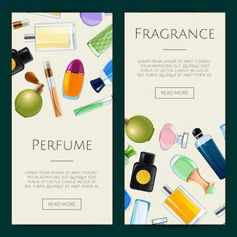 Conjunto de modelos de banner de frascos de perfume