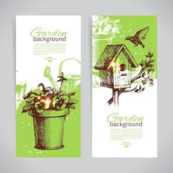 Conjunto de modelos de banner de jardinagem de esboço. ilustrações vintage desenhadas à mão