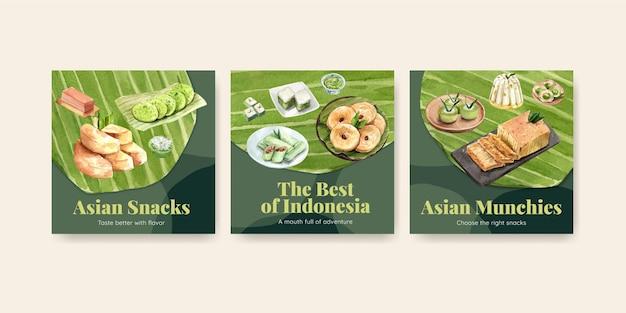 Conjunto de modelos de banner de lanches indonésios