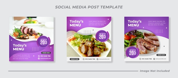 Conjunto de modelos de banner de mídia social de restaurante e menu de comida