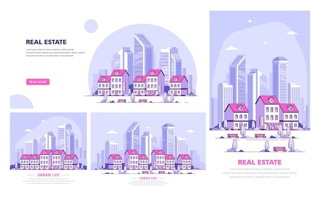 Conjunto de modelos de banner de tamanhos diferentes. paisagem urbana, rua da cidade com casas geminadas e arranha-céus