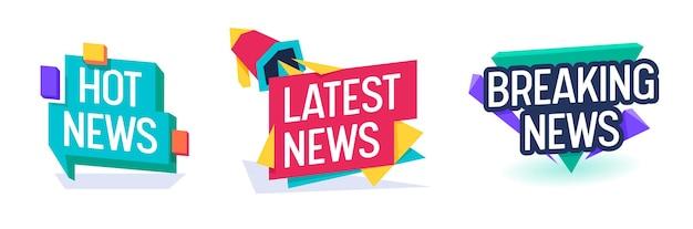 Conjunto de modelos de banner de tipografia de tv diário de notícias quentes. botão de emblema de boletim informativo para quebrar o título da mídia. coleção de cartazes de revista mensagem de informações ilustração vetorial plana dos desenhos animados