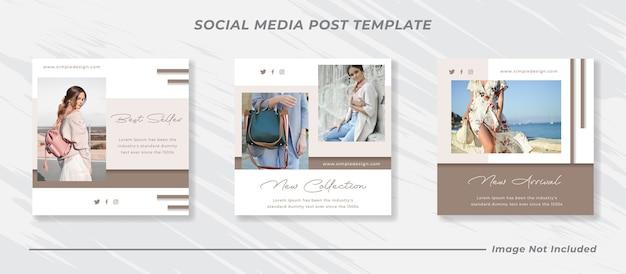 Conjunto de modelos de banner de venda de moda para mídia social, post de feed do instagram e histórias