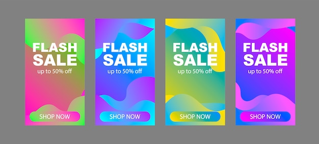 Conjunto de modelos de banner de venda flash. desenho abstrato minimalista.