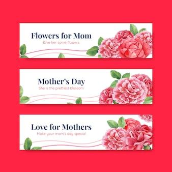 Conjunto de modelos de banner para o dia das mães feliz