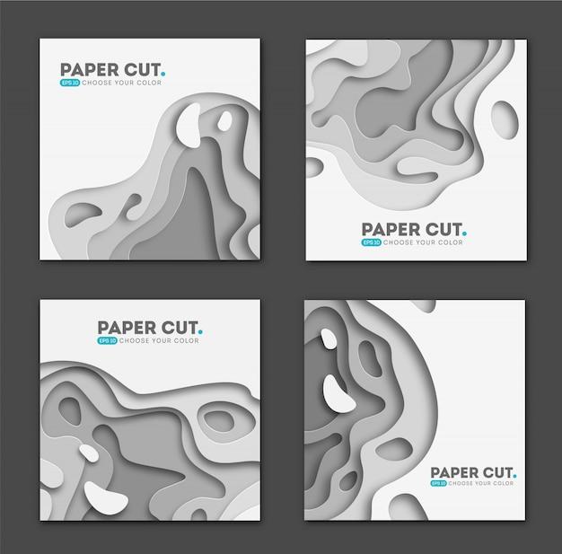 Conjunto de modelos de banner quadrado com formas de corte de papel