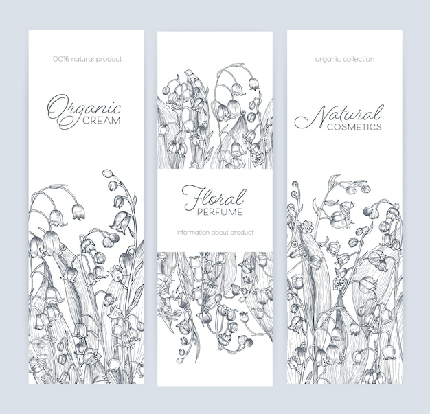 Conjunto de modelos de banner vertical, rótulo ou tag com lindas flores de lírio do vale da floresta