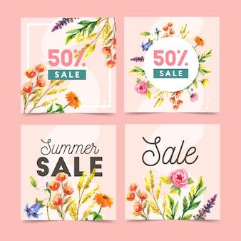 Conjunto de modelos de banner web abstrata com fundo floral. tamanhos diferentes