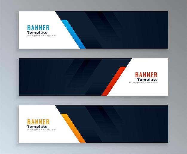 Conjunto de modelos de banners da web com espaço de texto