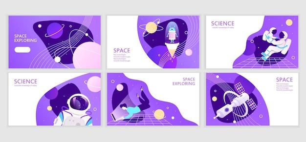 Conjunto de modelos de banners da web espaço de apresentação explore o design de apresentação corporativa futuro