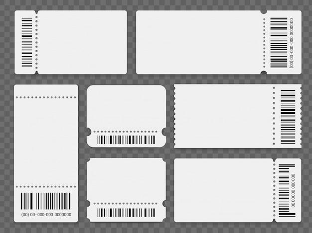 Conjunto de modelos de bilhetes de evento em branco