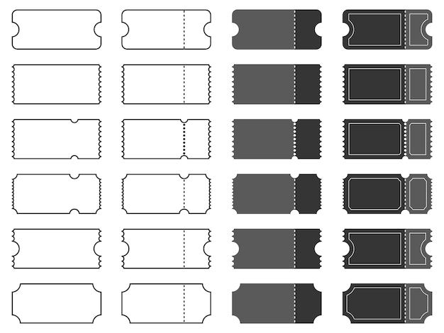 Conjunto de modelos de bilhetes em branco.