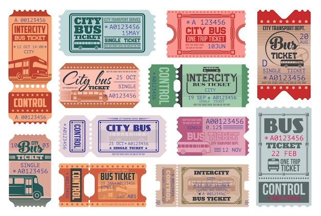 Conjunto de modelos de bilhetes retrô de ônibus da cidade.