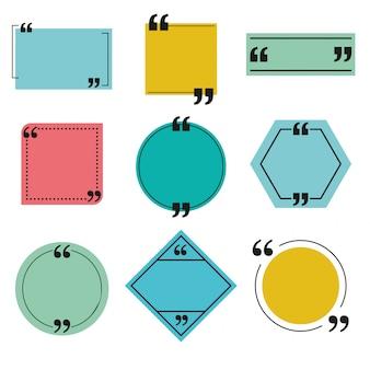 Conjunto de modelos de bolha de caixa e discurso de cotação