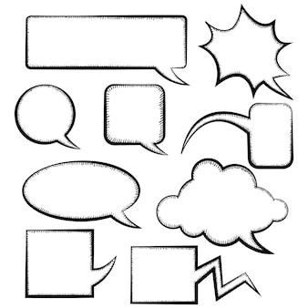 Conjunto de modelos de bolha do discurso diferentes doodle estilo