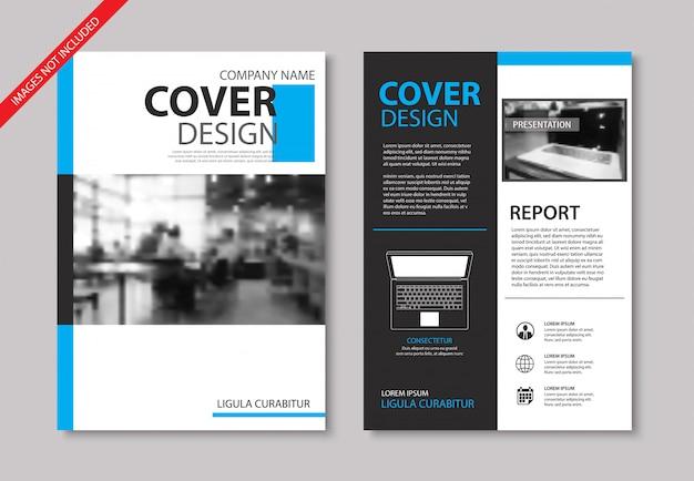 Conjunto de modelos de brochura de capa e layout azuis.