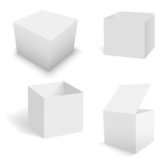 Conjunto de modelos de caixas quadradas brancas.