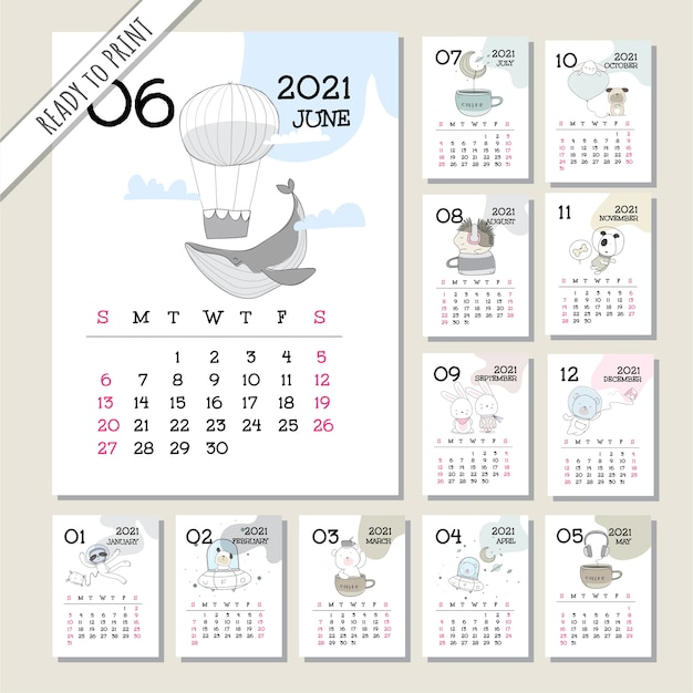 Conjunto de modelos de calendário animal fofo 2021