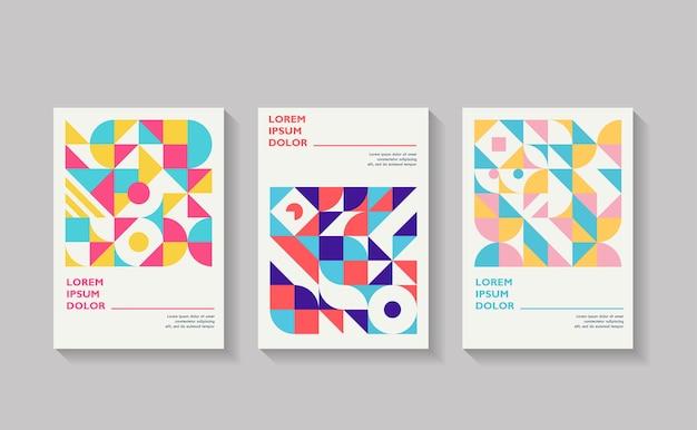 Conjunto de modelos de capa com formas geométricas design de estilo retro geométrico