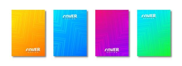 Conjunto de modelos de capa da moda. padrões de quadrados geométricos. cartaz abstrato, panfleto, banner, plano de fundo. modelos criativos de página de rosto para uso em impressão.