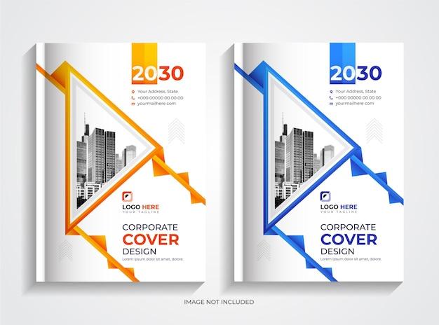 Conjunto de modelos de capa de livro criativo de negócios corporativos em laranja e azul