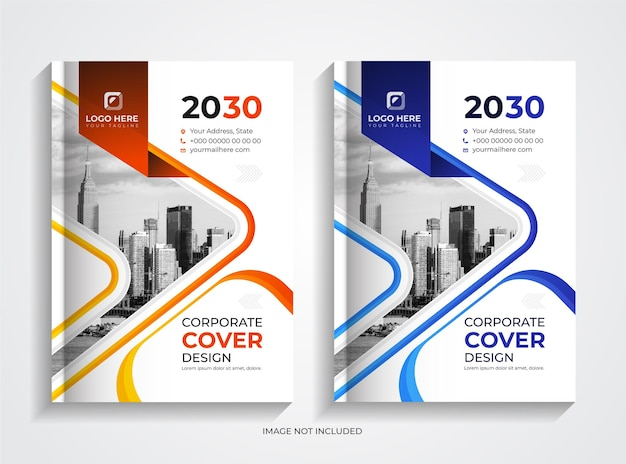 Conjunto de modelos de capa de livro de negócios corporativos laranja e azul