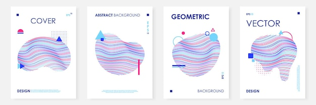 Conjunto de modelos de capas modernas com forma fluida abstrata
